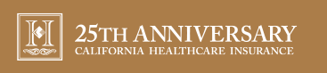 A green banner graphic that reads '25th Anniversary: California Healthcare Insurance'