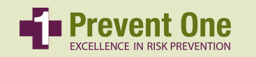 a tan colored banner graphic that reads 'Prevent One: Excellence in Risk Prevention'